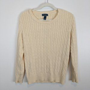 Karen Scott Crew Neck Cream Cable Knit Sweater L